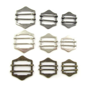 TWO BAR SLIDER ADJUSTER BUCKLE METAL DIY STRAP CRAFTS PROJECTS BAGS DUNGAREES