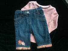 "Gymboree ""Beach Shack"" Hibiscus Floral Denim Capri Pant 18-24 Mo EEUC & NWT Top"