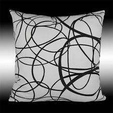 SIMPLE ABSTRACT WHITE GRAY COTTON DECO THROW PILLOW CASE CUSHION COVER 17""