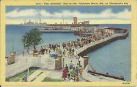 Tolchester Beach Maryland Chesapeake Bear Mountain Boat Pier c. 1930 Postcard