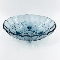 VTG Indiana Glass Pastel Blue Oval 4 Footed Centerpiece Fruit Bowl Harvest Grape