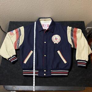 vintage USA OLYMPICS Training Center Varsity Jacket leather Satin Wool XL 80s