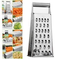 Kitchen Stainless Steel 4 Sided Food Grater Vegetable Cheese Shredder New^ krtyc