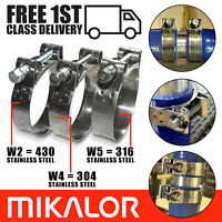 1, 17-19mm MIKALOR W2 Stainless Steel Hose Clamps//Supra//Exhaust//T Bolt//Marine Clip