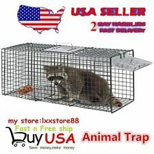 Humane Animal Trap 32x12x12 Steel Cage Live Rodent Control Skunk Opossum Oy