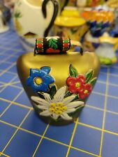 """Swiss Brass Cow 3"""" Bells with 3"""" Embroidered Strap"""
