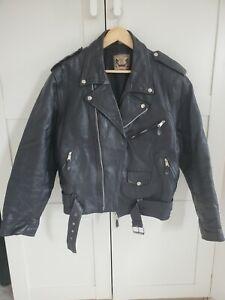 BLL Biker-style Vintage Leather Jacket. Black. Size: Medium