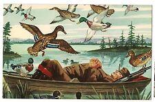 WHAT A LIFE!  Duck Hunter Sleeping In Boat Humor Comic Cartoon Postcard Birds