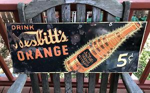 Original Embossed Drink  NESBITT'S CALIFORNIA ORANGE 5 C Soda Sign W Stank