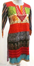 Kaftan patchwork pintuck BOLLYWOOD tunic top kurta blouse dress India M 40 NEW