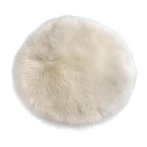 33cm Dia. Round Fluffy Stool Chair Seat Cushion Mat Cover Floor Cushion White