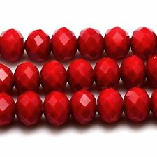 Glass Rondelle Red Jewellery Beads