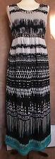 Sleeveless Grey & Blue Sheer Empire Line Dress - Size 12 - Marks & Spencer