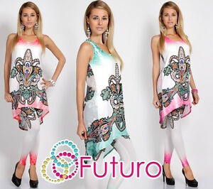 Womens NEW Set Mini Dress + Leggings Sleeveless Asymmetric Tunic Sizes 8-12 FC56