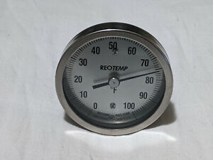 REOTEMP BACK CONNECT BIMETAL THERMOMETER 0-100F AA0401F35