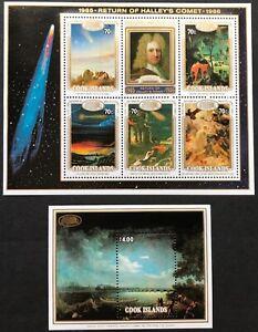 1986 Cook Islands Halley's Comet Set of 2 Minisheets MUH Combined Postage