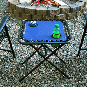 Sunnydaze Outdoor Folding Sling Side Table with Mesh Drink Holders - Navy Blue