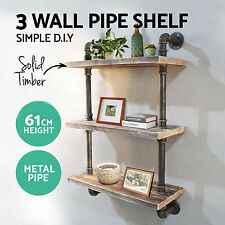 Rustic Wall Shelf Industrial Pipe Shelving Vintage Mounted Bookshelf 3 Level DIY