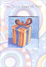 Orange Present with Blue Ribbon Birthday Card by Freedom Greetings