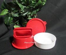 Tupperware New Small Hamburger Press Burger Pattie Maker in Red White Container