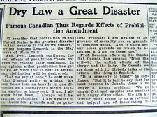 1928 newspaper PROHIBITION in US SAID to BE a TOTAL FAILURE by Canada Professor