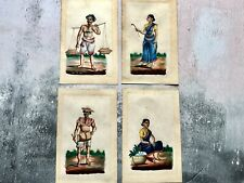 More details for collection of 4 x antique original paintings of indian tradespeople - patna 1800