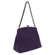 CHANEL CC Chain Hand Bag 5478926 Purse Purple Suede Leather Vintage AK17337d