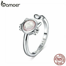 Bamoer Women Finger Open Ring S925 Sterling Silver Lovely Cat With Glass Jewelry