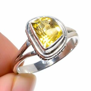 Wedding Gift For Her Silver Citrine Gemstone Jewelry Ring Size 8 AA10175