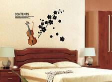 Wandtattoo wandaufkleber wandsticker music Violine blume ranke Musik  h008