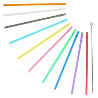"10.5"" Long Rainbow Colored Reusable Plastic Replacement Straws, Set  of 10"