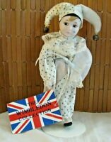 Vintage Wimbledon Collection Porcelain Jester Clown doll on stand w/ hang tag