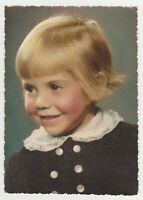 Cute Pretty Little Girl Kid Child Angel Face 1930s Tainted Vintage Old Photo