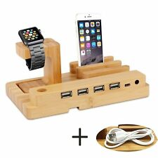 Bamboo 4-Port USB Charging Station HUB Charger Holder Dock for iWatch iPhone x