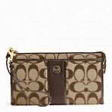 Coach Signature Stripe Zippy Wallet Khaki / Mahogany F49139
