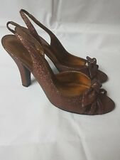 Roland Cartier Peep Toe Bow Glitter Ssndals Size 6