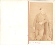 Paul Caillau, Agen, Jeune homme en uniforme militaire Vintage CDV albumen carte