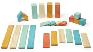Tegu 24-Piece Classic Magnetic Wooden Block Building Toy Set Sunset NEW