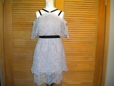 SELF PORTRAIT Light Gray LACE Layered Cold Shoulder DRESS SIZE US 4/UK 8 #6283
