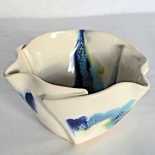 Hilborn Modern Art Pottery Bowl Free Form Candy Dish Pinch Stoneware Blue White