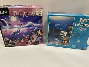 SEASCAPES Robert Lyn Nelson 750 Pc Puzzle NEW Plus Tropic Moonlight Prism Open
