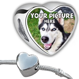 Personalised Photo Charm Bead Love Heart Bracelet Memory Gift Custom fit Pandor