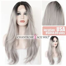 Ombre Gray Synthetic Lace Front Wigs Long Straight Wavy Synthetic Wigs For Women
