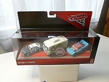 DISNEY PIXAR CARS 3 DERBY3-PACK DELUXE VEHICLE ARVY,FISHTAIL AND APB DIECAST NEW