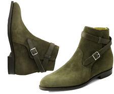 Handmade Men's Ankle High Suede Boots, Men's Green Loop Buckle Boots