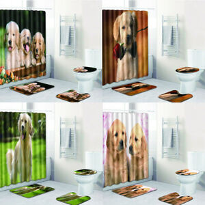 Cute Dog Bathroom Shower Curtain Funny Animal Golden Retriever Bath Toilet Mat