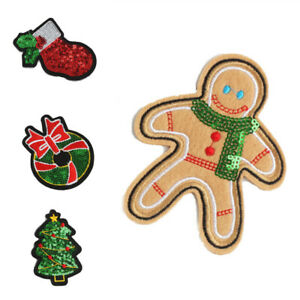 5x Christmas Sequins Iron-on Patch Sew Tree Bell Sock Applique DIY Sewing Badge