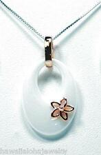TAPERED OVAL WHITE CERAMIC ROSE GOLD OVER SOLID SILVER HAWAIIAN PLUMERIA PENDANT
