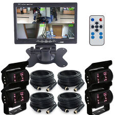 """7"""" Split Quad Car Rear View Monitor +3x 4Pin Backup CCD Camera 33Ft For Truck US"""