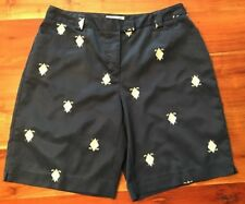 Coral Bay Golf Shorts Sz 12 Navy Embroidered Golf Clubs Argyle